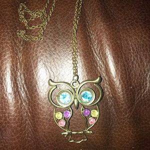 New Long Copper Owl Necklace/Chain With Jewels
